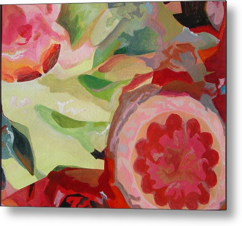 Abstract Metal Print featuring the painting Decoupage by Muriel Dolemieux