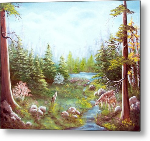 Landscape Metal Print featuring the painting Deer And Stream by Joni McPherson