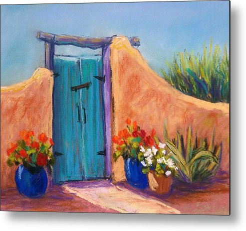 Landscape Metal Print featuring the pastel Desert Gate by Candy Mayer