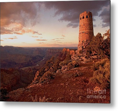 Grand Canyon Metal Print featuring the photograph Desert Watchtower At Sunset by Larry Sobel