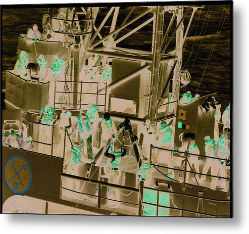 Metal Print featuring the photograph Destroyer Alongside Carrier by Mike Ray