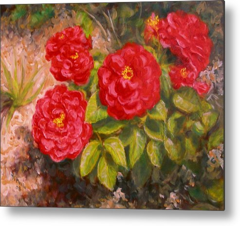Realism Metal Print featuring the painting Diane's Roses by Donelli DiMaria