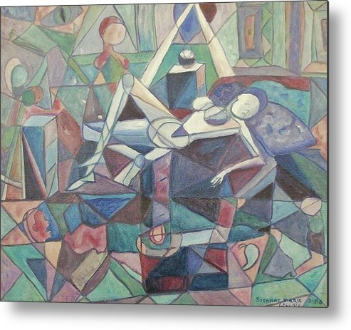 Abstract Metal Print featuring the painting Dispair by Suzanne Marie Leclair