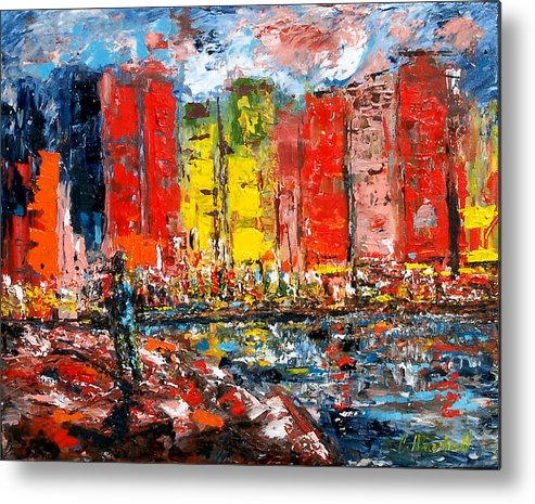 Abstract Metal Print featuring the painting Dock By The Bay by Claude Marshall