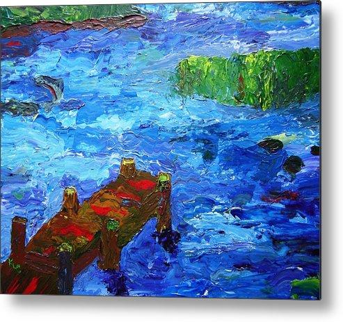Marsh Metal Print featuring the painting Dock On The Marsh by Karen L Christophersen