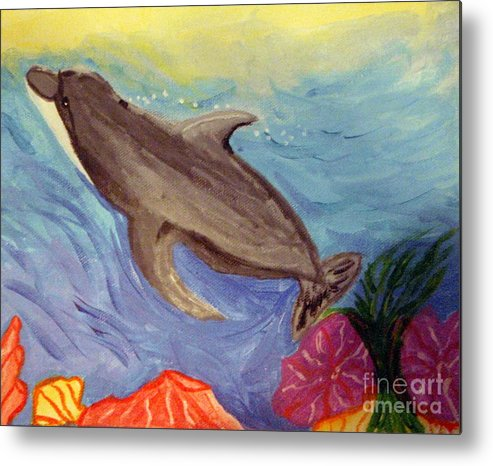 Ocean Metal Print featuring the painting Dolphin Surfacing by Elizabeth Arthur