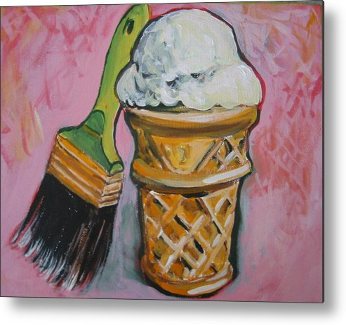 Brush Metal Print featuring the painting Double Icon by Tilly Strauss