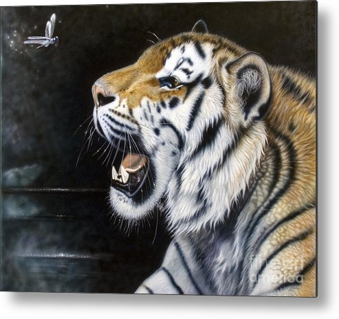 Tiger Metal Print featuring the painting Dragonfly by Sandi Baker