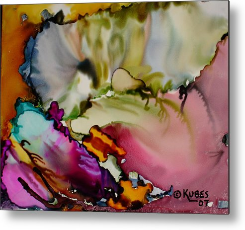 Abstract Metal Print featuring the painting Dreaming by Susan Kubes