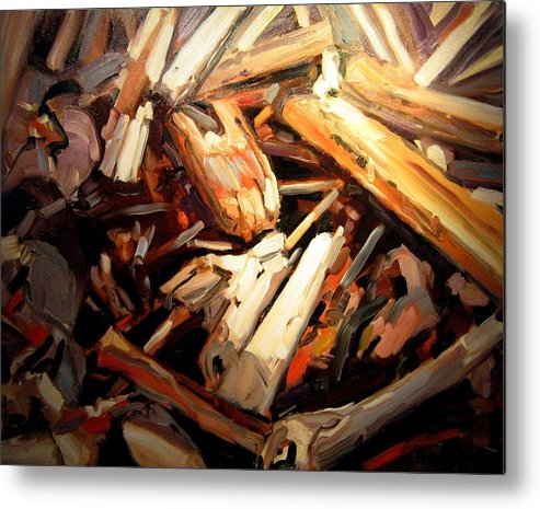 Beach Paintings Metal Print featuring the painting Driftwood by Brian Simons