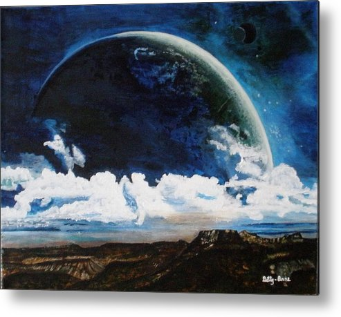 Earth Metal Print featuring the painting Earth From Space by Betty-Anne McDonald