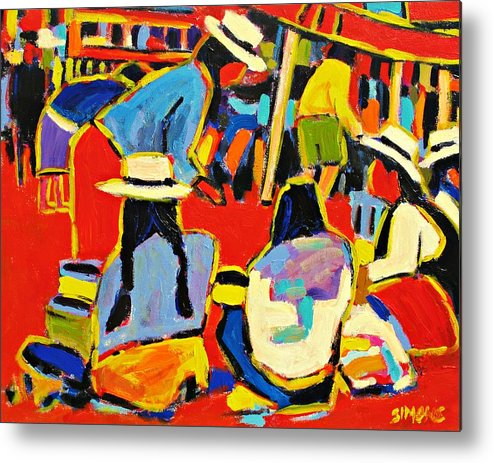 Paintings Metal Print featuring the painting Ecuador Street Market by Brian Simons
