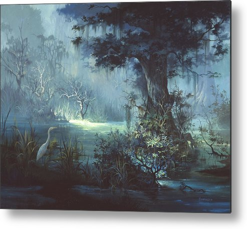 Egret Metal Print featuring the painting Egret In The Shadows by Michael Humphries