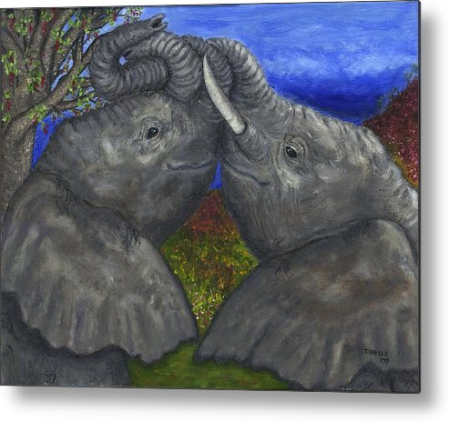 Elephants Metal Print featuring the painting Elephant Hugs by Tanna Lee M Wells