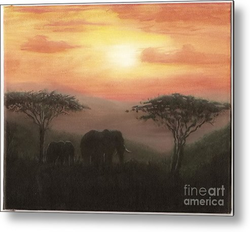 Elephants Metal Print featuring the painting Elephant Sunset by Don Lindemann