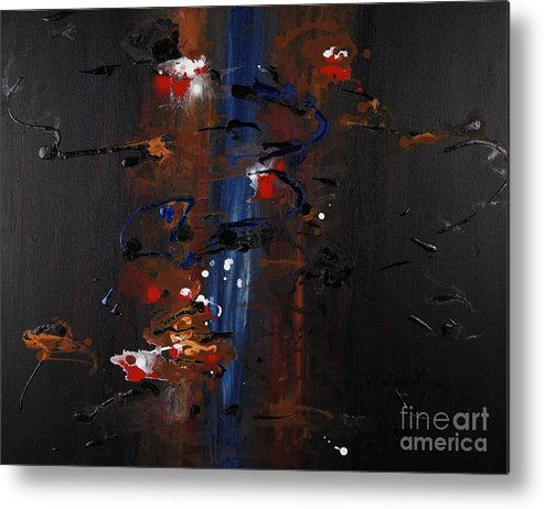 Black Metal Print featuring the painting Energy by Nadine Rippelmeyer
