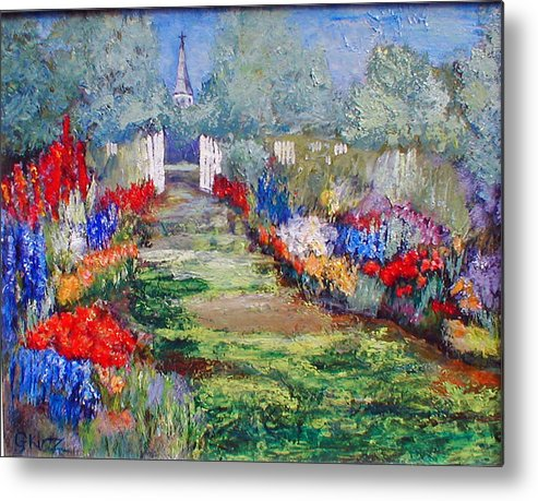 Landscape Metal Print featuring the painting Enter His Gates by Gail Kirtz