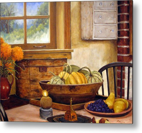 Fall Metal Print featuring the painting Fall Harvest by Richard T Pranke