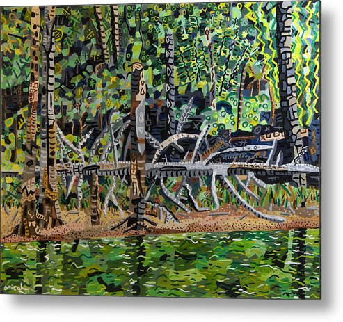Acrylic Metal Print featuring the painting Falls Lake In July by Micah Mullen