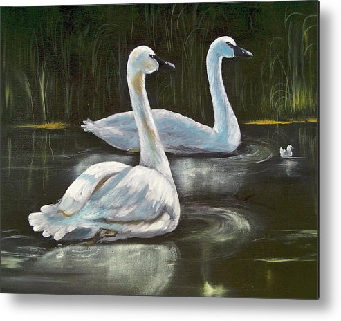 Birds Metal Print featuring the painting Family by Bonnie Rogers