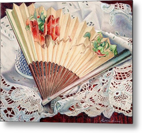 Fan Metal Print featuring the painting Fan And Lace by Robynne Hardison