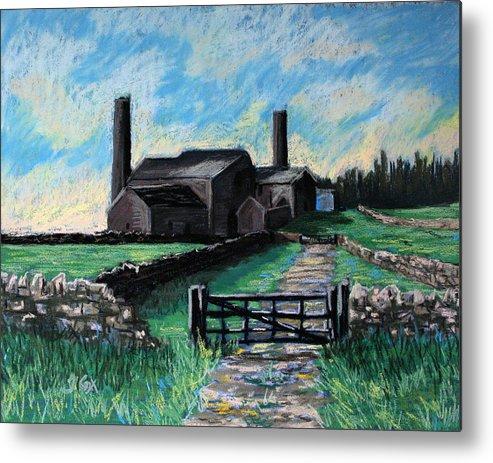 Farm. Stublick. Chimney. Landscape. Northumberland. England. Uk. Metal Print featuring the painting Farm Near Hexham. by John Cox