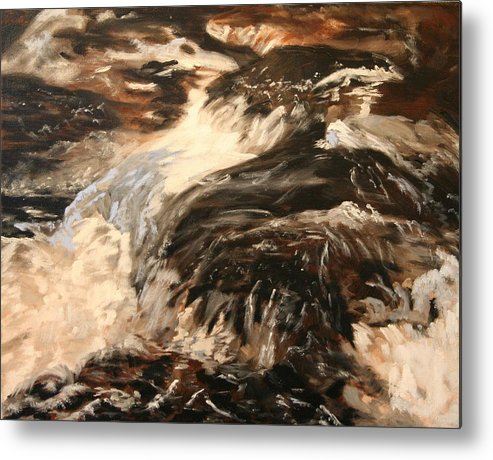 Waterscape Metal Print featuring the painting Fast Water by Marilyn Tower