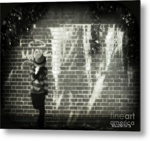 Black And White Metal Print featuring the photograph Fedora Shoot 3 by Emily Kelley