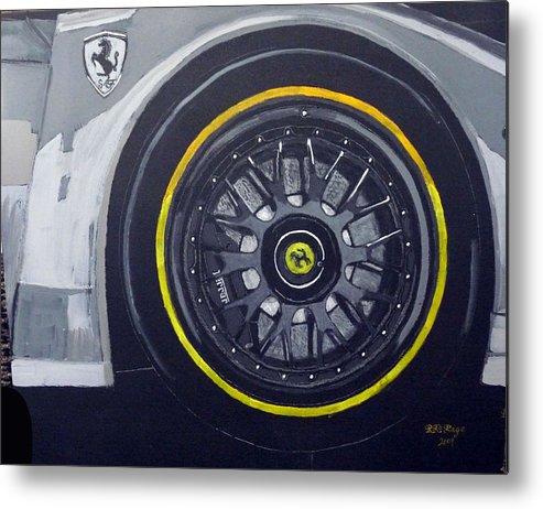 Ferrari Metal Print featuring the painting Ferrari Wheel by Richard Le Page