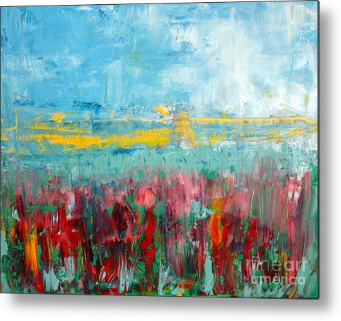Abstract Metal Print featuring the painting Fire Weed by Julie Lueders