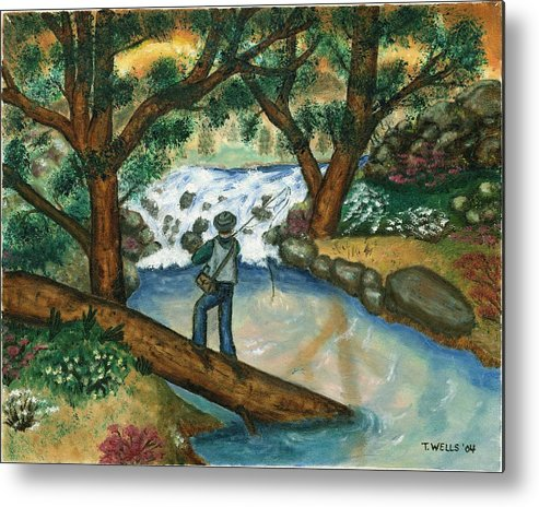 Fisherman Fly Fishing In A Sunny Stream Metal Print featuring the painting Fishing The Sunny River by Tanna Lee M Wells