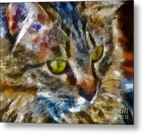 Kittens Metal Print featuring the digital art Fletcher Kitty by Marilyn Sholin