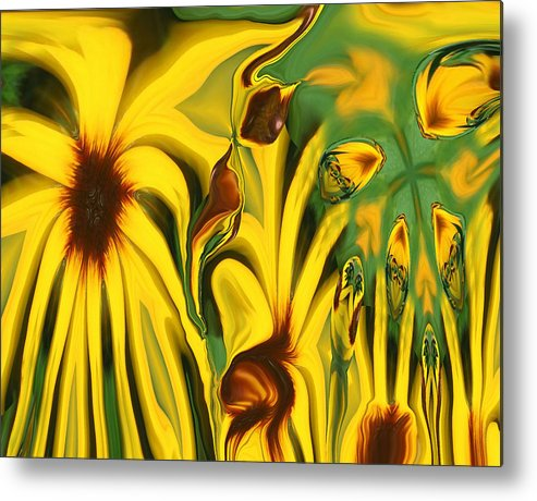 Abstract Metal Print featuring the photograph Flower Fun by Linda Sannuti