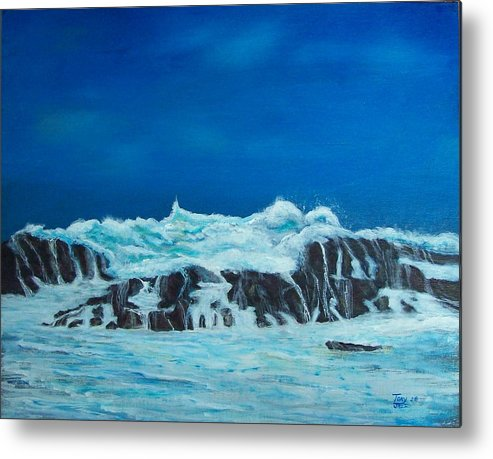 Seascapes Metal Print featuring the painting Foamy by Tony Rodriguez