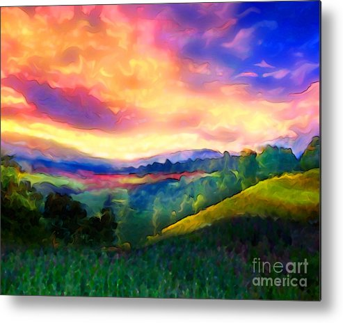 Sunset Metal Print featuring the painting Foothills by Mike Massengale
