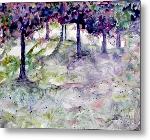 Fastasy Metal Print featuring the painting Forest Fantasy by Jan Bennicoff