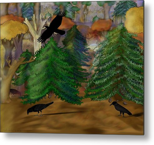 Crows Metal Print featuring the painting Forest Of Crows by Mike Sexton