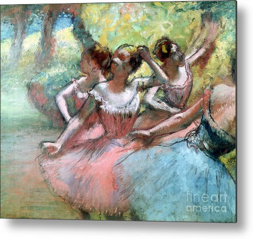 4 Metal Print featuring the pastel Four Ballerinas On The Stage by Edgar Degas