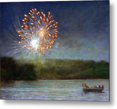 Fireworks Metal Print featuring the painting Fourth Of July- Cazenovia Lake by Wayne Daniels