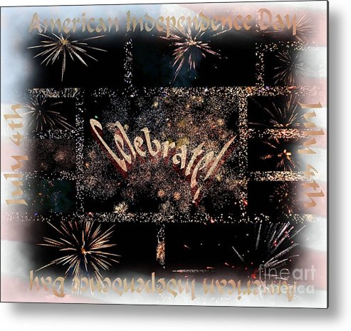 American Metal Print featuring the digital art Fourth Of July Celebration by Linda Galok