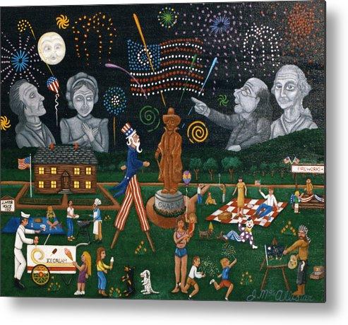 Folk Art Metal Print featuring the painting Fourth Of July Celebration Litchfield County Conn. by Joshua Mac Allistar