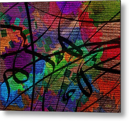 Contemporary Abstract Textured Design Flowing Vibrant Colorful Gordon Beck Art Metal Print featuring the painting Free Fall by Gordon Beck