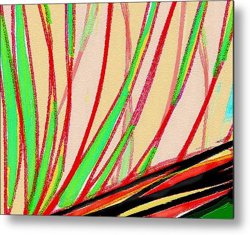 Abstract Metal Print featuring the painting Frond Craquelure by Paul Little