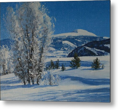 Landscape Metal Print featuring the painting Frost Tapestry by Lanny Grant