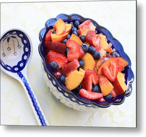 Fruit Metal Print featuring the photograph Fruit Salad With Spoon by Carol Groenen