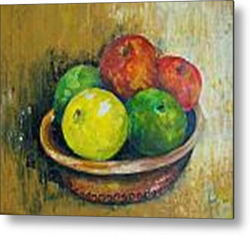 Apples And Oranges Metal Print featuring the painting Frutas by Carol P Kingsley
