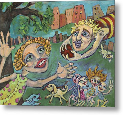 Whimsical Metal Print featuring the painting Fun At The Park by Michelle Spiziri