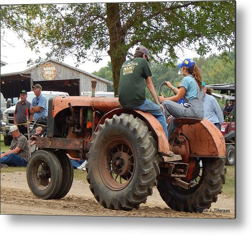 Girl Metal Print featuring the photograph Girl Driving A Tractor by Curtis Tilleraas