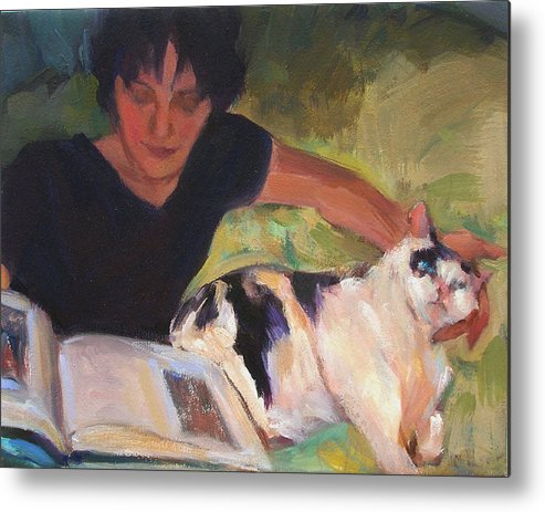 Woman Metal Print featuring the painting Girl With Cat by Merle Keller