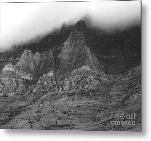 Glacier National Park Montana Horizontal Black And White Mountain Cloud Landscape Striation Pine Tree Waterfall Metal Print featuring the photograph Glacier National Park Montana Horizontal by Heather Kirk